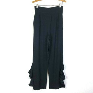 Valentino Black Crepe Wide Leg High Pants 6 10UK